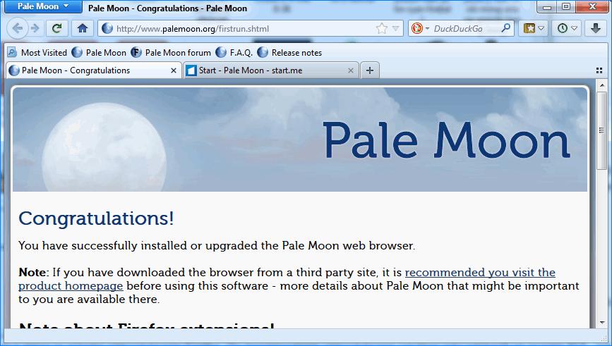 Интерфейс Pale Moon