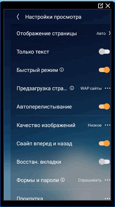 Настройки просмотра UC Browser