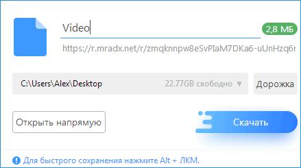 Окно для настройки скачивания US Browser