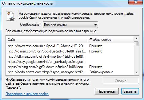 Отчет о безопасности Internet Explorer