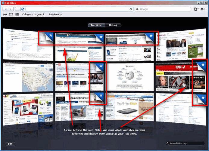 Отметки фиксированных закладок Top Sites в Safari
