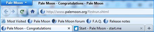 Панель задач Pale Moon
