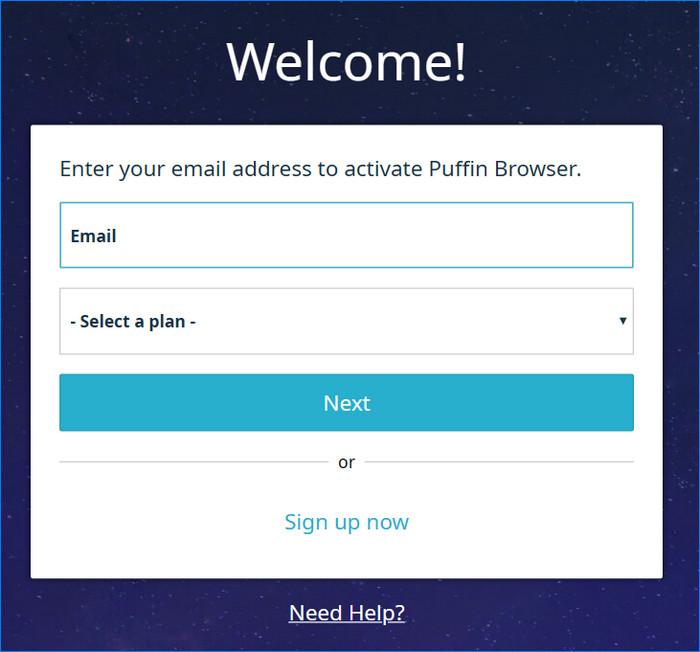 Переходим к регистрации аккаунта в Puffin