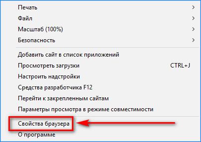 Раздел Свойства браузера в IE