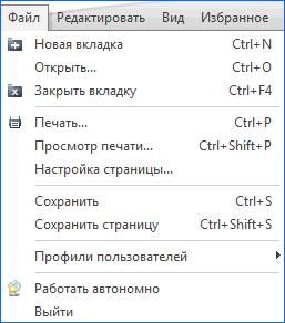 """Вкладка меню """"Файл"""""""