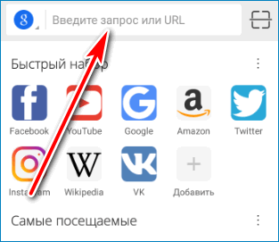 Адресная строка CM Browser