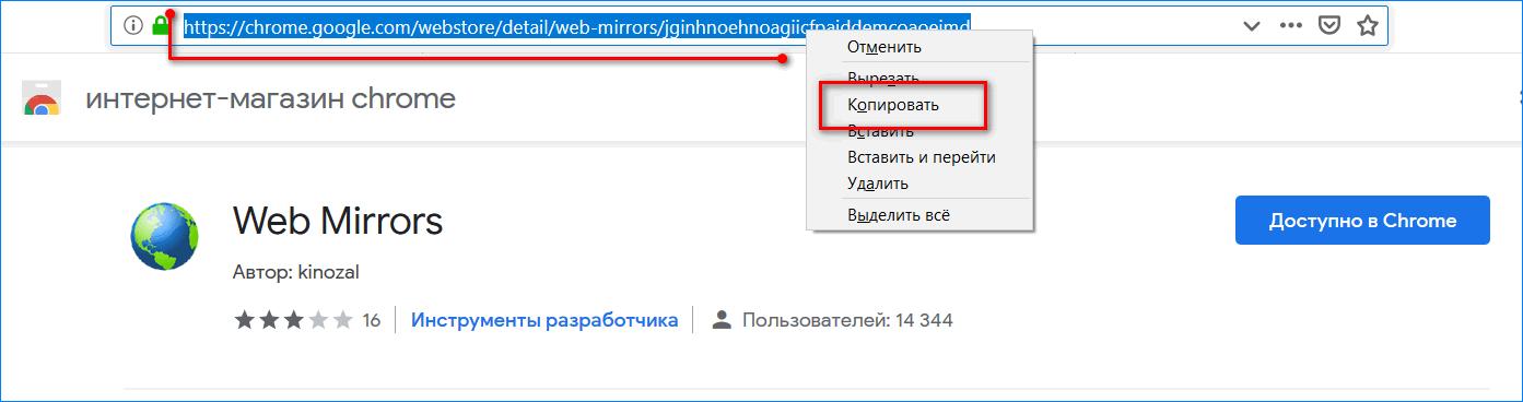 Копирование веб адреса Web Mirrors
