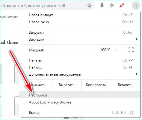Настройки Epic Browser