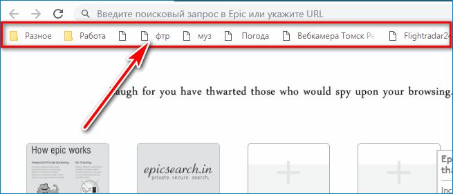Панель Epic Browser