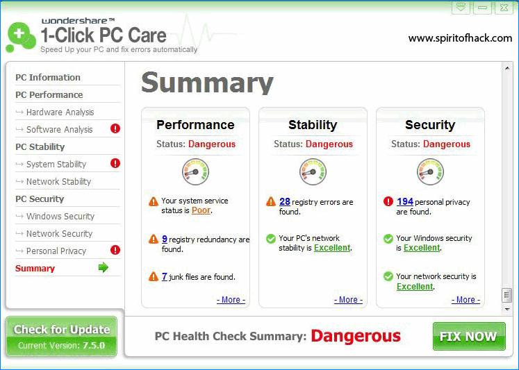 Wondershare 1 Click PC Care для Internet Explorer